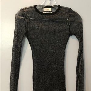Out From Under Sheer Black Metallic l/s Top (s)